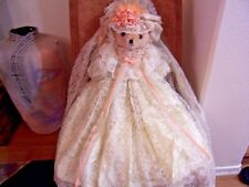 Exquisite TEDDY BEAR IN HANDMADE LACE DRESS AND VEIL  36