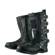 Icon 1000 Elsinore Custom Urban Motorcycle Motorbike Boots - Johnny Black