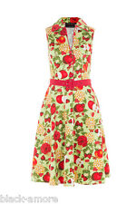 Fruit & Floral Print Flare Dress Apples Strawberries 50s Vintage Rockabilly