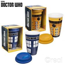 New Doctor Who TARDIS Or Dalek Ceramic Travel Mug & Silicone Lid Coffee Official
