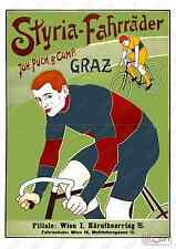 Styria Fahrrader: Reproduction Cycling  advert, poster, Wall art.