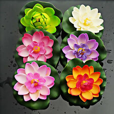 1PC Artificial Lotus Water Lily Floating Flower Pond Tank Plant Ornament 10cm