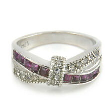 Purple Amethyst & CZ Criss Cross Ring Size 6-10 Band silver plated Jewelry