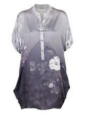 Womens Casual Loose Tops Blouse Summer Dress Floral Chiffon Short Sleeve