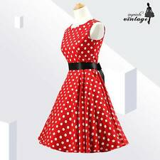 Red White Polka Dot Audrey Hepburn 50s 60s Vintage Rockabilly Dress Sleeveless