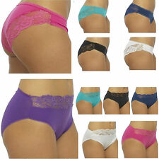 5 Pairs Ladies Cotton Brazilian High Leg Lace Briefs Womens Pants Sexy Knickers
