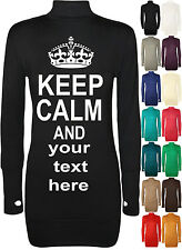 KEEP CALM personalised women long sleeve short dress Top Thumb hole  8-14