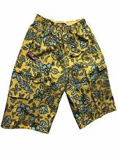 Abercrombie & Fitch Men's Wide fit 3/4 Shorts with elastic waist - Yellow/Blue