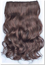 "24"" Curly 1 piece Clip In Hair Extensions full head--Light Chocolate Brown"