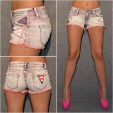 Stretch Jeans SHORTS / HOT PANTS mit Applikationen BLEACHED ROT