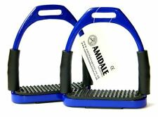 FLEXI SAFETY STIRRUPS HORSE RIDING BENDY IRONS STAINLESS STEEL NAVY BLUE AMIDALE