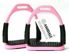 FLEXI SAFETY STIRRUPS HORSE RIDING BENDY IRONS STAINLESS STEEL PINK AMIDALE
