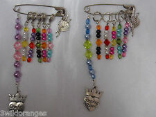 Knitting / Crochet Stitch Markers Craft Bag Charm & 5 Stitch Markers