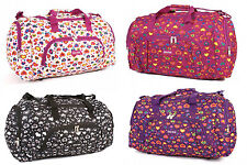 Ladies Large Hearts Holdall Weekend Luggage Overnight Bag Travel Flight Gym 24