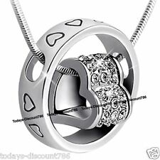 Silver Love Heart Crystal Ring Necklace Jewellery Xmas Gift For Her Mother Women