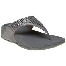 New Womens FitFlop Grey Novy Suede Sandals Flip Flops