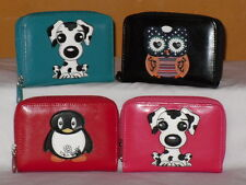 Small Zip Round Purse Wallet 6 Card Slits In Dog/Owl/Penguin Asst Colours.