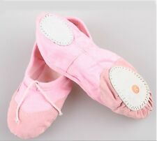 UK Stock Pink Girl Lady Comfortable Canvas Ballet Dance Flat Shoes Size 2.5-13.5