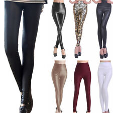 Sexy Glanz Wet Look Leggings - Leder Look Leggins Legins High Waist Hose S M L