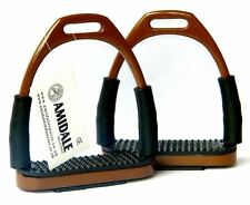 FLEXI SAFETY STIRRUPS HORSE RIDING BENDY IRONS STAINLESS STEEL BROWN AMIDALE NEW