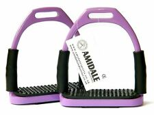 FLEXI SAFETY STIRRUPS HORSE RIDING BENDY IRONS STAINLESS STEEL PURPLE AMIDALE