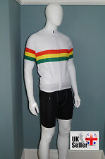 SALE new mens white cycle cycling jersey shirt top with reggae rasta stripes