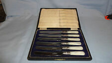 Vintage Cased Set Of 6 Stainless & Steel + Mother Of Pearl Butter Knives