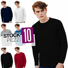 Pacco Stock 10 Magliette Manica Lunga Cotone Uomo Fruit of The Loom Valueweight