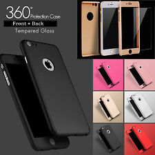 Ultra thin Hybrid 360° Hard Case+Tempered Glass Cover For iPhone 5 SE 6 6S Plus