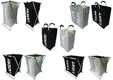 Foldable Washing Laundry Basket Bag Bin Hamper Storage Single Double New UK