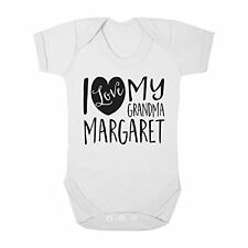 Personalised with ANY NAME I Love my Grandma Cute Boy & Girl Baby Vest Bodysuit