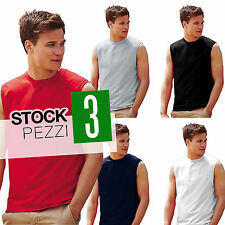 STOCK 3 MAGLIETTE SMANICATE UOMO COTONE T Shirt Senza Maniche Fruit of The Loom