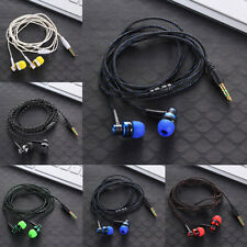 3.5mm AURICOLARI CUFFIE CAVO INTRECCIATO SUPER BASS in-ear PER MP3 MP4 IPOD JACK