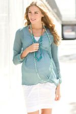 Blue maternity blouse - Noppies maternity sheer top - all sizes XL or XXL