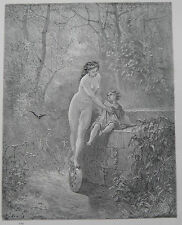 Fontaine's Fables by Gustave Dore Antique Print C. 1870 (119)