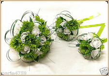 WEDDING FLOWERS BRIDE BRIDESMAID FLOWER GIRL GERBERA ROSES BOUQUET LIME GREEN