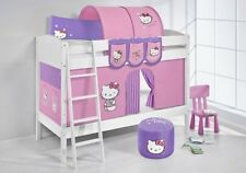Bunk bed Loft bed Children Bed made of solid Pine IDA 4106 white + Curtain