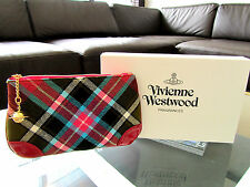 Vivienne Westwood Red Tartan Clutch Make-Up Bag Purse Orb Charm New Sealed Box