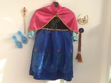 FROZEN ANNA DRESS & CAPE, TIARA,HAIR CLIP,WAND,SHOES