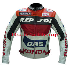 NEW HONDA GAS REPSOL MOTORBIKE CE ARMOURED COWHIDE LEATHER JACKET, ALL UK SIZES