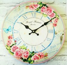 Large Vintage Shabby Chic Style ROSE BUTTERFLY wall CLOCK Pink Rose Wooden clock