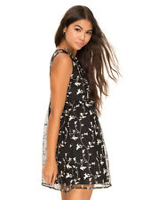Motel Rocks Cherry Blossom Babydoll Dress Empire Line Cute Black and Pink