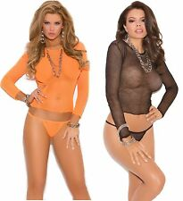 Fishnet Long Sleeve Top & G-String Set, ElegantMoments, EM-1447, Black, Red,