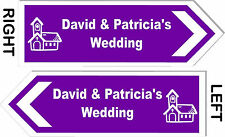 PERSONALISED Church Wedding Direction Sign - 17x6 Inches - Choice of Colour