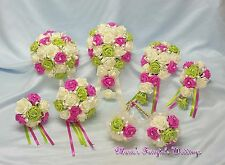 WEDDING FLOWERS BRIDE BRIDESMAID BOUQUET WAND PACKAGE FUCHSIA PINK+LT LIME GREEN