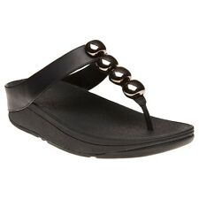 New Womens FitFlop Black Rola Leather Sandals Flip Flops