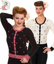 BANNED GOLDEN TOUCH 50s style FLAMINGO CARDIGAN BLACK OFF-WHITE