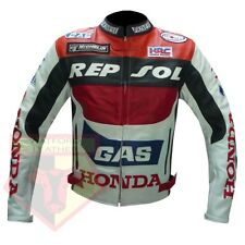NEW HONDA GAS REPSOL RED MOTORCYCLE BIKER COWHIDE LEATHER JACKET-FREE UK SHIP