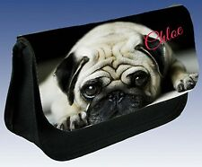 PERSONALISED PUPPY DOG BACK TO SCHOOL PENCIL CASE (CUTE PUG DOG) & other pups