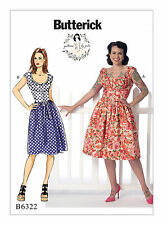 Butterick B6322 PATTERN by Gertie - Misses' Ruched Corset-Style Dress 6- 22 New